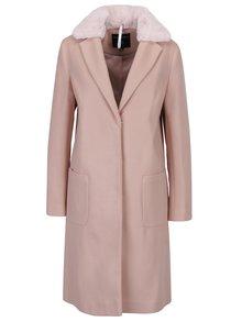 Starorůžový kabát s umělou kožešinou Dorothy Perkins
