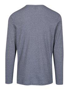 Tmavě modré žíhané tričko s knoflíky Jack & Jones Giovanni