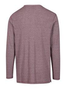 Vínové melírované tričko s gombíkmi Jack & Jones Giovanni