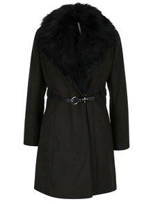 Palton verde inchis de toamna / iarna cu curea si blana artificiala - Dorothy Perkins Petite