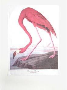 Bielo-ružová kuchynská utierka s motívom plameniaka Magpie Flamingo