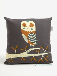 Hnedý vankúš s motívom sovy Magpie Owl
