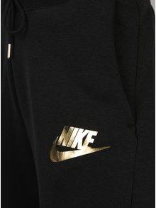 Černé dámské tepláky s potiskem ve zlaté barvě Nike Rally