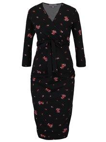Černé květované těhotenské/kojicí šaty Dorothy Perkins Maternity