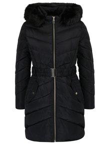 Čierny prešívaný zimný kabát s umelou kožušinou Dorothy Perkins Petite