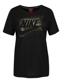 Čierne dámske tričko s potlačou Nike Metallic