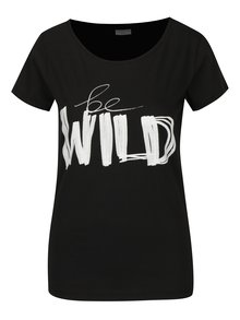 Tricou negru&alb cu print inscriptie Jacqueline de Yong Chicagos