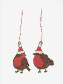 Súprava desiatich ozdôb v tvare vtákov v hnedej farbe Sass & Belle Christmas Robin