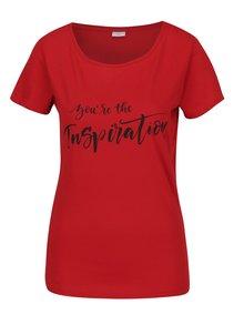 Tricou rosu&negru cu print inscriptie Jacqueline de Yong Chicagos