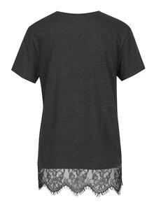 Tmavosivé tričko s potlačou Aces a čipkou ONLY Prince