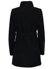 Palton negru cu maxi revere, cordon in talie si detalii cu aspect de piele - VERO MODA Cala