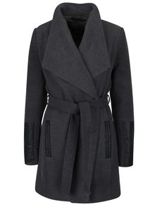 Tmavosivý kabát s koženkovými detailmi VERO MODA Cala