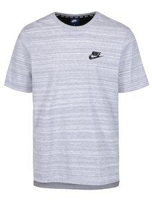 Šedé žíhané pánské tričko s krátkým rukávem Nike
