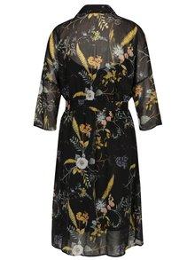 Rochie neagra cu model floral cu maneci 3/4  ONLY Katrine