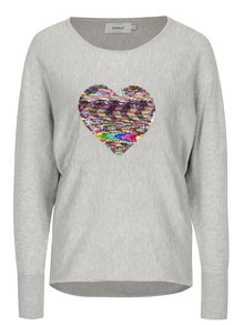 Pulover gri deschis cu broderie inima din paiete ONLY Sequinny