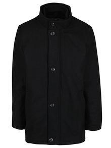 Černý vlněný zimní kabát s límcem Seven Seas Harrison