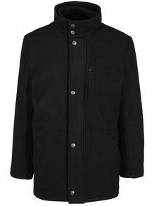 Palton negru cu guler inalt din amestec de lana Seven Seas Douglas
