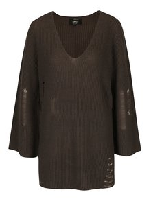 Tmavozelený sveter s potrhaným efektom ONLY Tanya