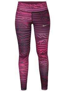 Růžové dámské vzorované funkční legíny Nike