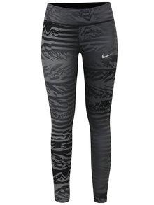 Tmavě šedé dámské vzorované funkční legíny Nike