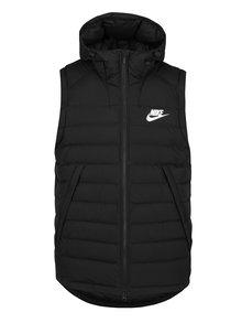 Čierna pánska prešívaná páperová vesta s kapucňou Nike Sportswear Down