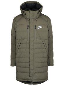 Khaki pánský zimní péřový prošívaný kabát Nike Down