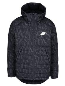 Čierna pánska vzorovaná zimná páperová prešívaná bunda Nike