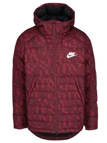 Červená pánska vzorovaná zimná páperová prešívaná bunda Nike