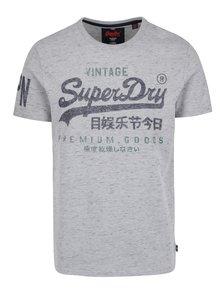 Šedé pánské žíhané tričko s potiskem Superdry Premium