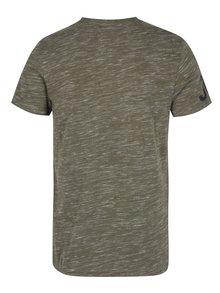 Khaki pánské žíhané tričko s potiskem Superdry Premium