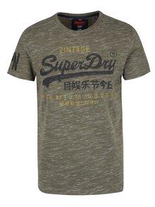 Kaki pánske melírované tričko s potlačou Superdry Premium