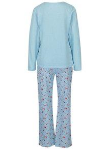 Svetlomodré dámske pyžamo s motívom vtákov M&Co