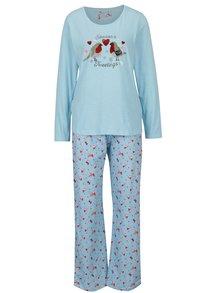 Pijama albastru deschis cu print pasari M&Co