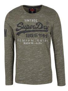 Khaki pánské žíhané tričko s dlouhým rukávem Superdry Premium