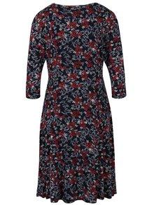 Tmavomodré kvetované šaty s 3/4 rukávmi M&Co