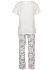 Šedo-krémové dámské pyžamo s motivem listů M&Co