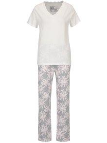 Pijama crem&gri cu print frunze  M&Co