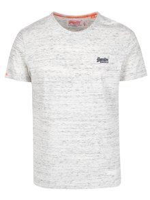 Tricou din bumbac gri melanj cu logo brodat pentru barbati - Superdry Orange