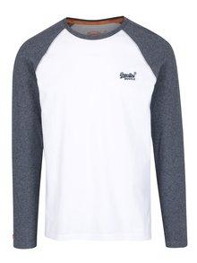 Modro-biele pánske tričko s dlhým rukávom Superdry Orange
