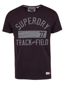 Vínové pánské tričko s potiskem Superdry Trackster