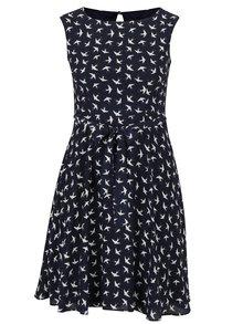 Tmavě modré šaty s motivem vlaštovek M&Co