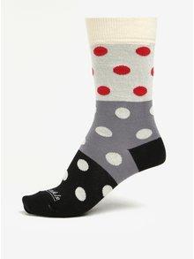 Krémovo-černé puntíkované unisex ponožky Fusakle Guličkár nerozhodný