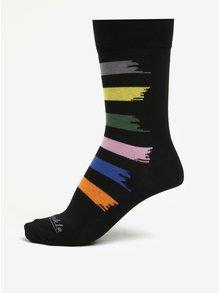 Sosete unisex negre cu dungi multicolore - Fusakle Machuliar