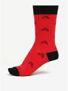 Sosete unisex rosu & negru cu print cu biciclete - Fusakle Cyklista
