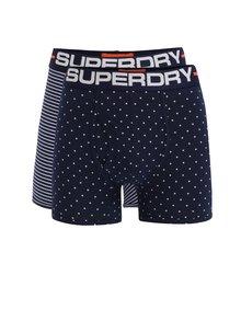 Sada dvou vzorovaných boxerek v tmavě modré barvě Superdry Sport