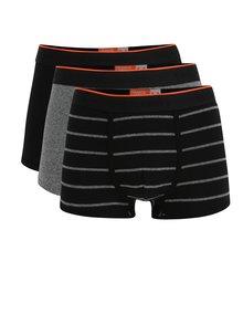 Sada tří boxerek v černé a šedé barvě Superdry O.L Sport