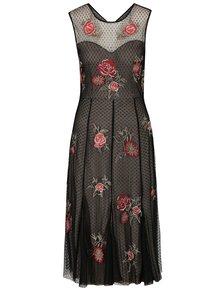 Černé krajkové šaty s výšivkami růží M&Co