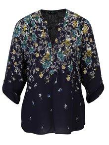Bluza bleumarin cu print floral si maneci 3/4 M&Co