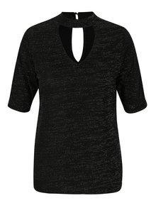 Bluza neagra cu guler choker si fir argintiu M&Co