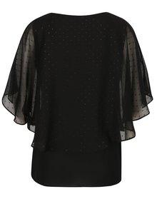Čierna blúzka s netopierími rukávmi a retiazkou v striebornej farbe M&Co